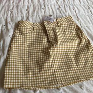 Gold Gingham Mini Denim Skirt NEW
